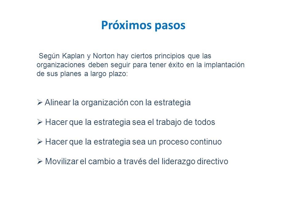 Próximos pasos Según Kaplan y Norton hay ciertos principios que las organizaciones deben seguir para tener éxito en la implantación de sus planes a la