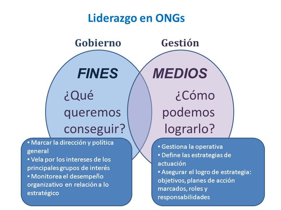 Liderazgo en ONGs ¿Qué queremos conseguir? ¿Cómo podemos lograrlo? GobiernoGestión FINESMEDIOS Marcar la dirección y política general Vela por los int