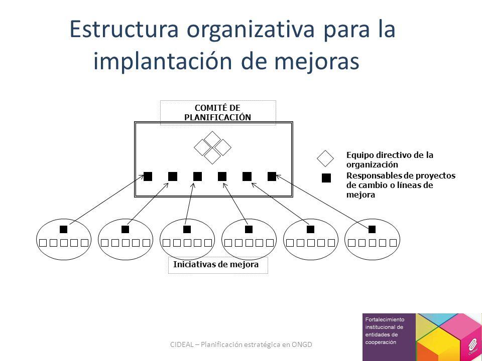 CIDEAL – Planificación estratégica en ONGD Iniciativas de mejora Equipo directivo de la organización Responsables de proyectos de cambio o líneas de m