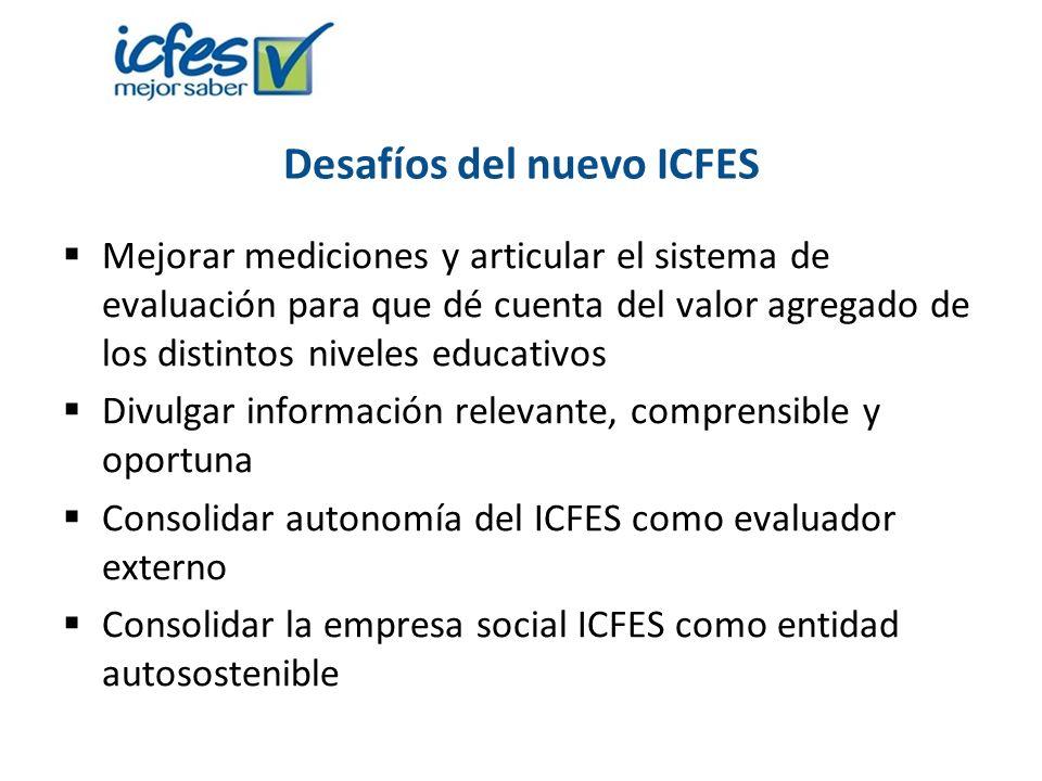 Desafíos del nuevo ICFES Mejorar mediciones y articular el sistema de evaluación para que dé cuenta del valor agregado de los distintos niveles educat
