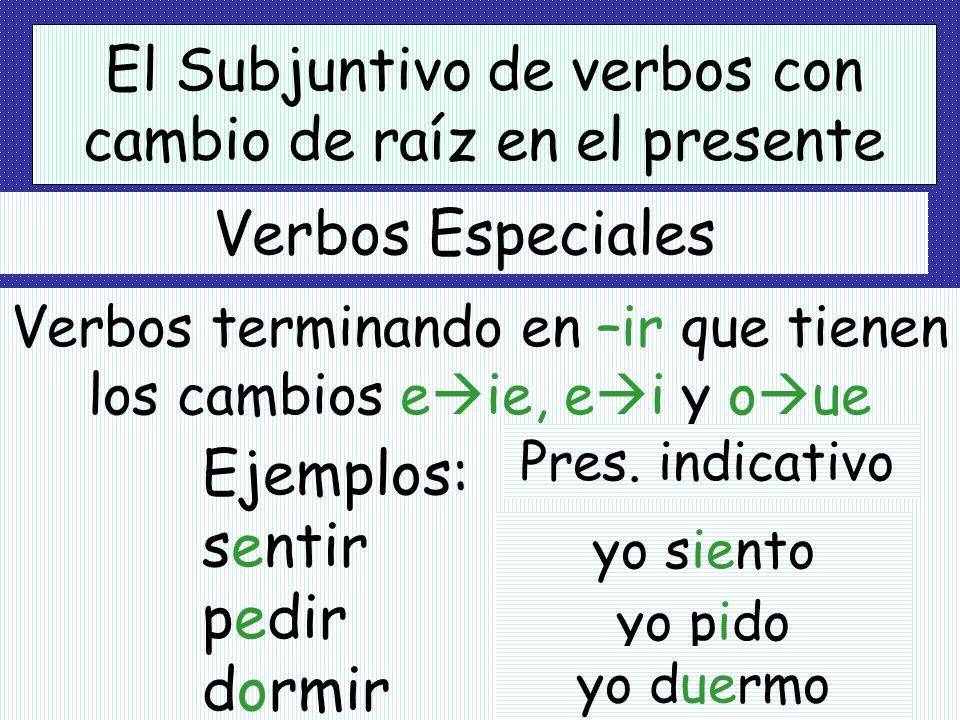 El Subjuntivo de verbos con cambio de raíz en el presente Ejemplos: querer (e ie) almorzar (o ue) jugar (u ue) sentarse (e ie) yo quiera tú almuerces