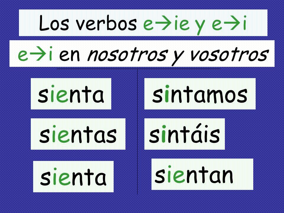 El Subjuntivo de verbos con cambio de raíz en el presente Verbos Especiales Verbos terminando en –ir que tienen los cambios e ie, e i y o ue Ejemplos: