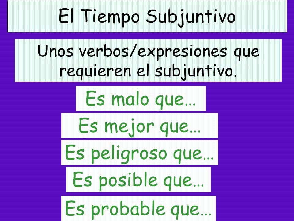 El Tiempo Subjuntivo Unos verbos/expresiones que requieren el subjuntivo. Es necesario que… Es importante que… Es bueno que… Es lógico que…