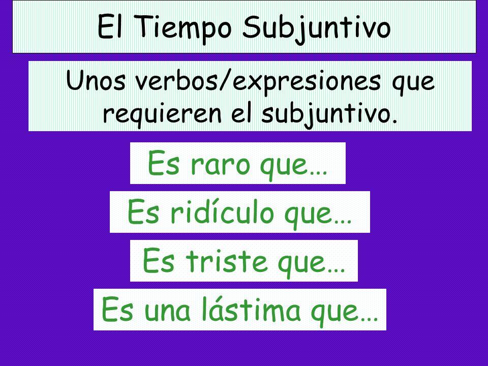 El Tiempo Subjuntivo Es posible que… Es probable que… Es peligroso que… Es mejor que… Es malo que… Unos verbos/expresiones que requieren el subjuntivo