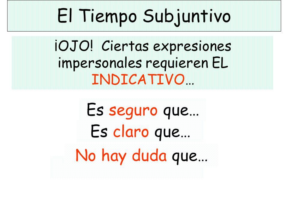 El Tiempo Subjuntivo ¡OJO! Ciertas expresiones impersonales requieren EL INDICATIVO… Es evidente que… Es obvio que… Es verdad que… Es cierto que…