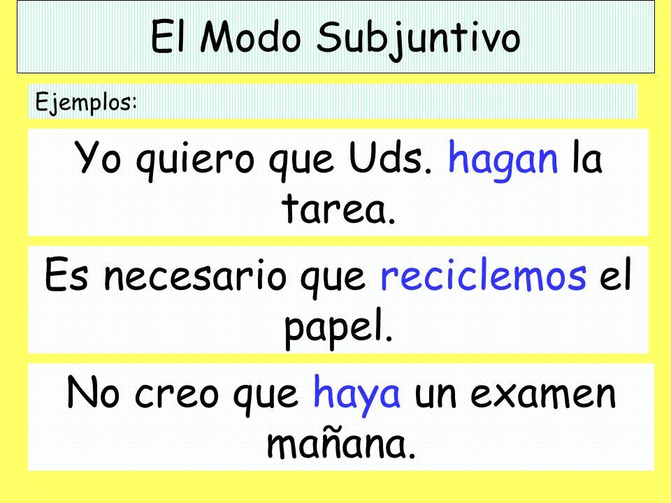 El Modo Subjuntivo The Subjunctive Mood used to indicate possibility. Ejemplo: Es posible que yo salga esta noche.