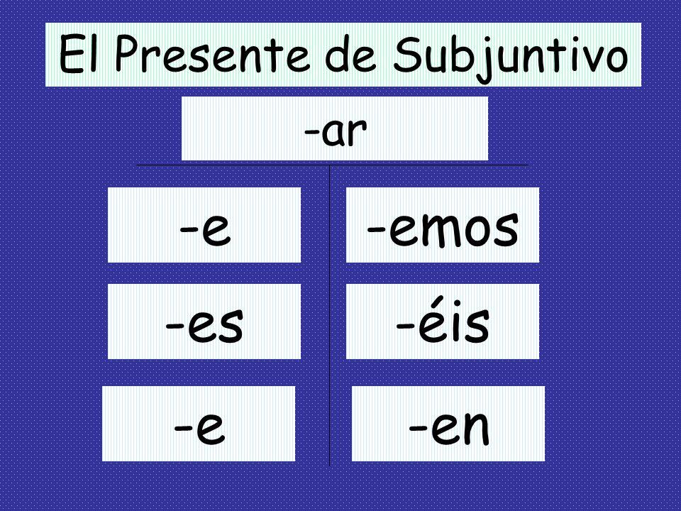 Formando el Presente de Subjuntivo 1. Empieza con la forma de yo del presente indicativo del verbo. Ejemplos: como hablo escribo 2. Quita la –o y usa