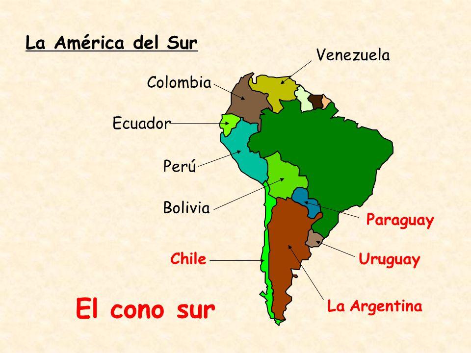 El cono sur Geografía: Argentina La Patagonia y Tierra del Fuego: -región más extensa y menos poblada del país -región de llanuras inmensas y suelo rocoso -vientos secos y fríos El estrecho de Magallanes: -separa la Tierra del Fuego del continente