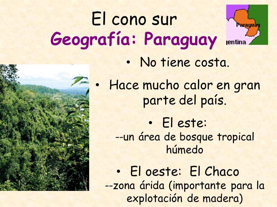 El cono sur Geografía: Paraguay No tiene costa. Hace mucho calor en gran parte del país. El este: --un área de bosque tropical húmedo El oeste: El Cha