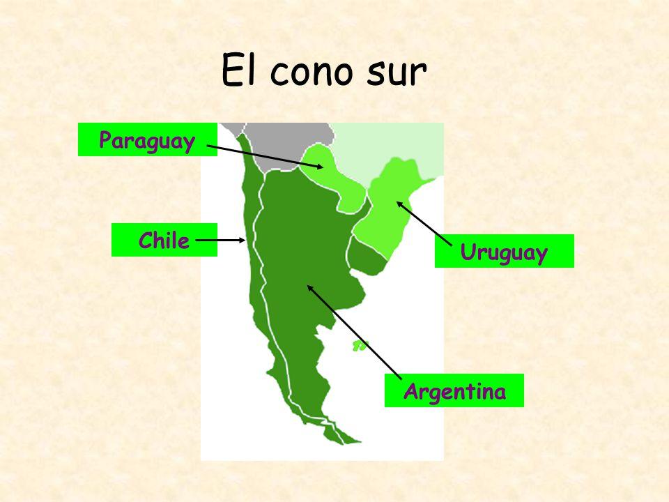 El cono sur Geografía: Uruguay país más pequeño de Sudamérica país tranquilo y placentero 50% de la población vive en Montevideo mayor parte del país --terrenos llanos y cerros con poca elevación tierra y clima moderados --propicios para la agricultra y la ganadería