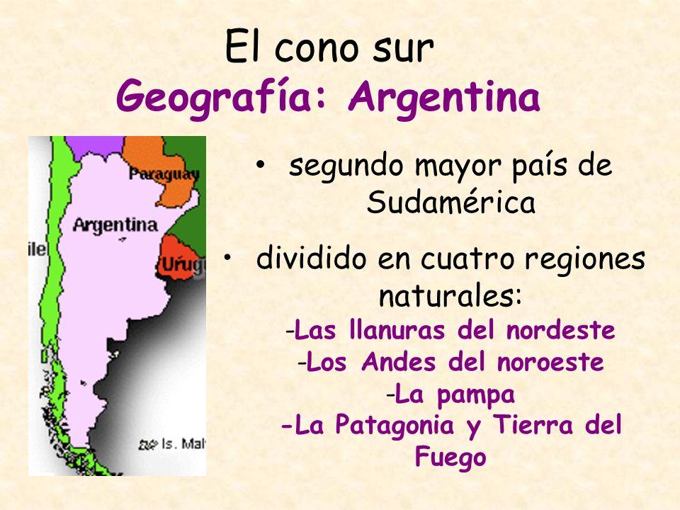 El cono sur Geografía: Argentina segundo mayor país de Sudamérica dividido en cuatro regiones naturales: -Las llanuras del nordeste -Los Andes del nor
