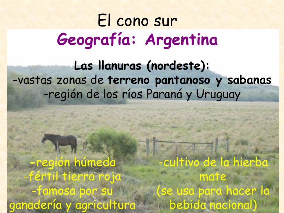 El cono sur Geografía: Argentina Los Andes (noroeste) -el Aconcagua: La cumbre más alta de las Américas (6.959 metros) -región de volcanes nevados, altiplanos, desiertos -gran población indígena