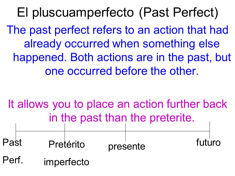 El pluscuamperfecto (Past Perfect) The past perfect refers to an action that had already occurred when something else happened. Both actions are in th