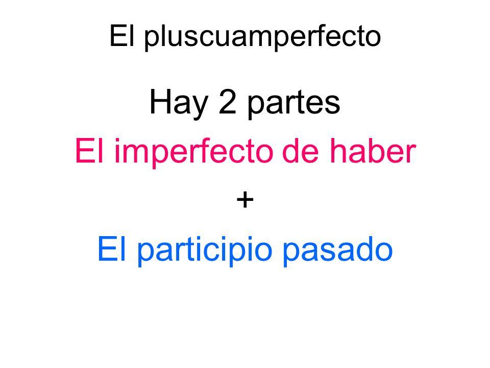 El pluscuamperfecto Hay 2 partes El imperfecto de haber + El participio pasado