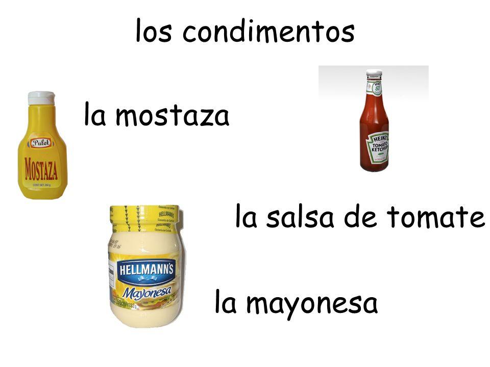 la salsa de tomate la mostaza la mayonesa