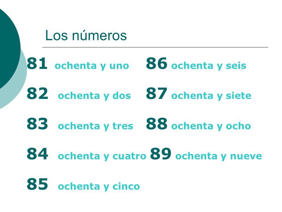 Los números 81 ochenta y uno 86 ochenta y seis 82 ochenta y dos 87 ochenta y siete 83 ochenta y tres 88 ochenta y ocho 84 ochenta y cuatro 89 ochenta