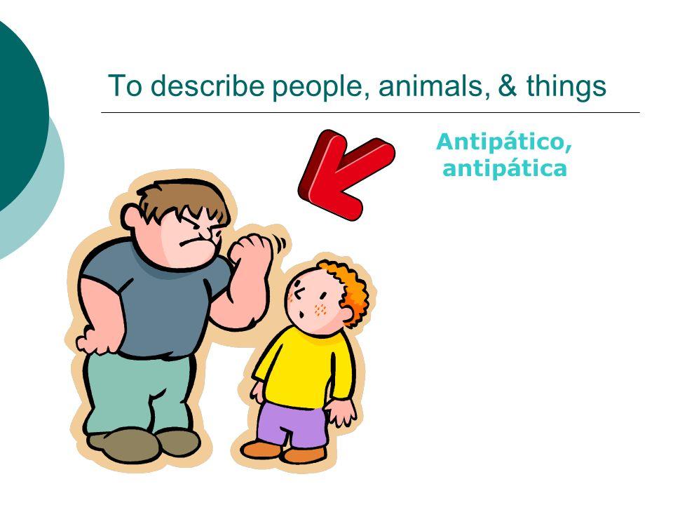 To describe people, animals, & things Antipático, antipática
