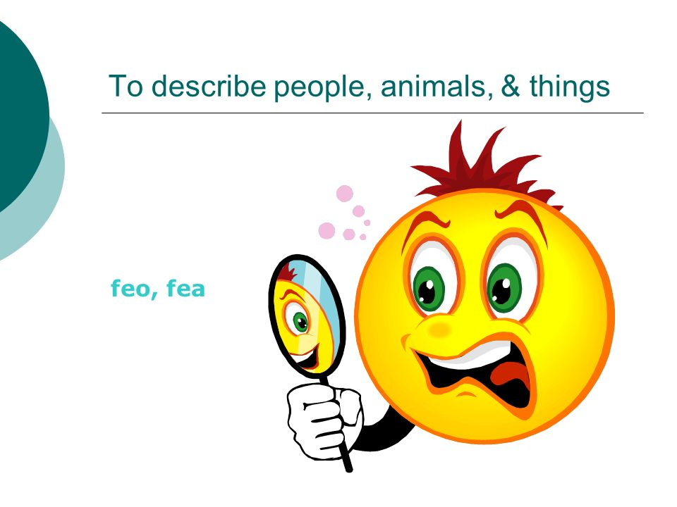 To describe people, animals, & things feo, fea
