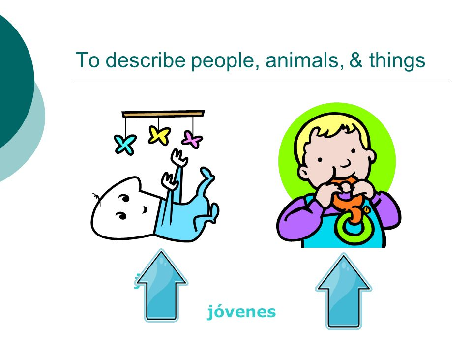 To describe people, animals, & things joven jóvenes