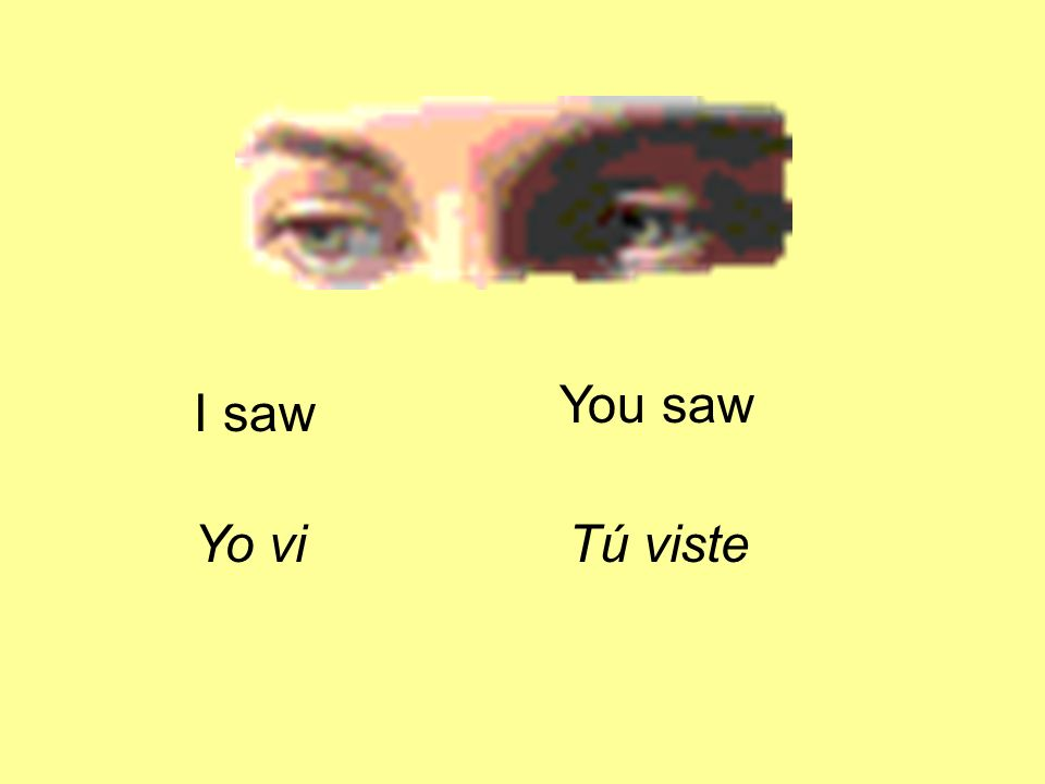 I saw Yo vi You saw Tú viste