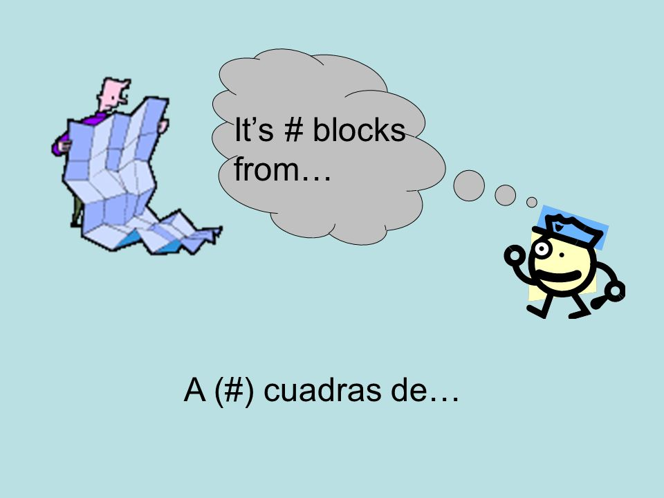 Its # blocks from… A (#) cuadras de…