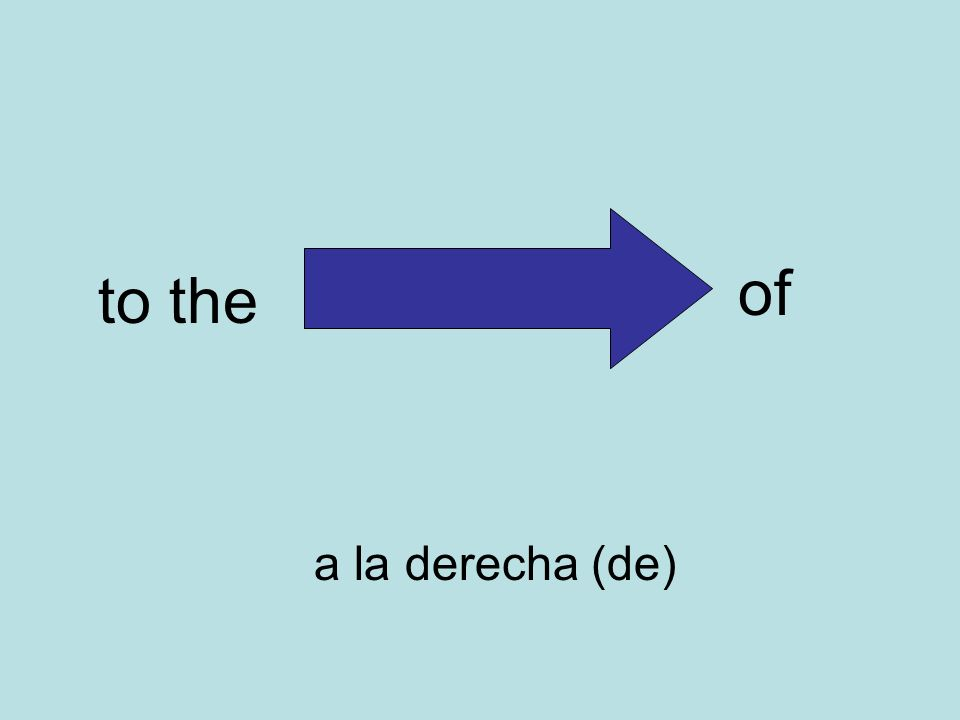 to the of a la derecha (de)