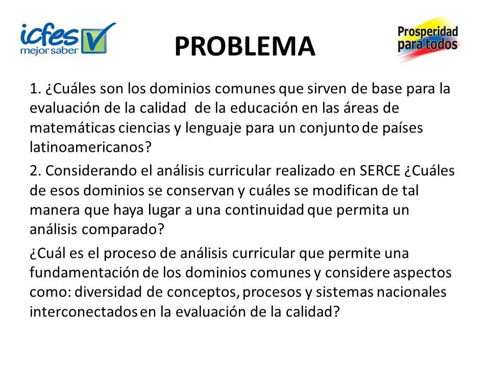 PROBLEMA 1. ¿Cuáles son los dominios comunes que sirven de base para la evaluación de la calidad de la educación en las áreas de matemáticas ciencias
