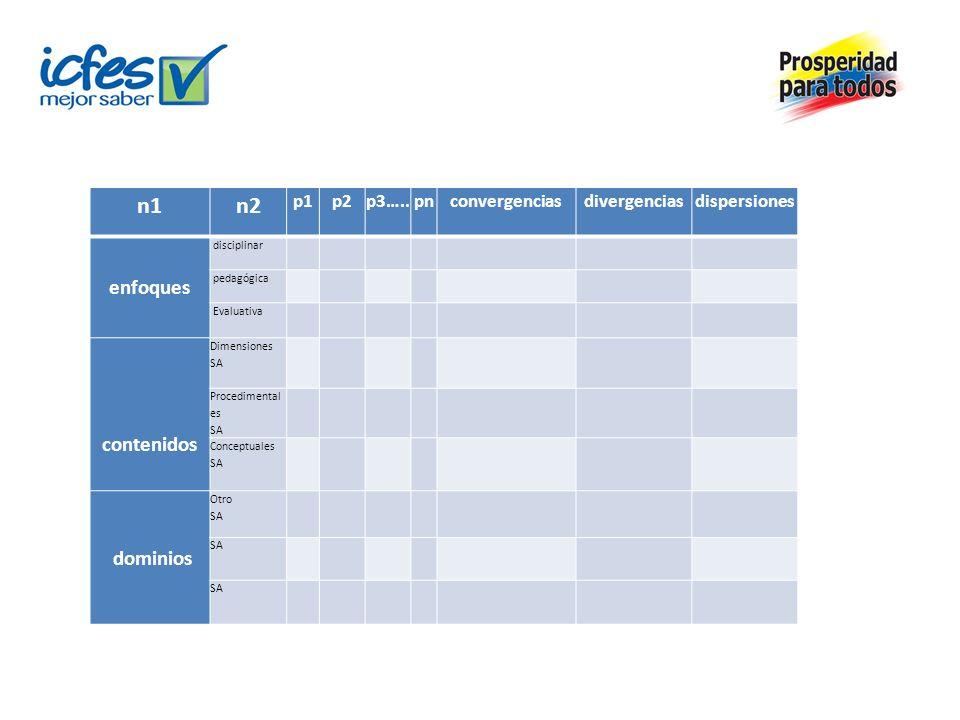 n1n2 p1p2p3…..pnconvergenciasdivergenciasdispersiones enfoques disciplinar pedagógica Evaluativa contenidos Dimensiones SA Procedimental es SA Concept