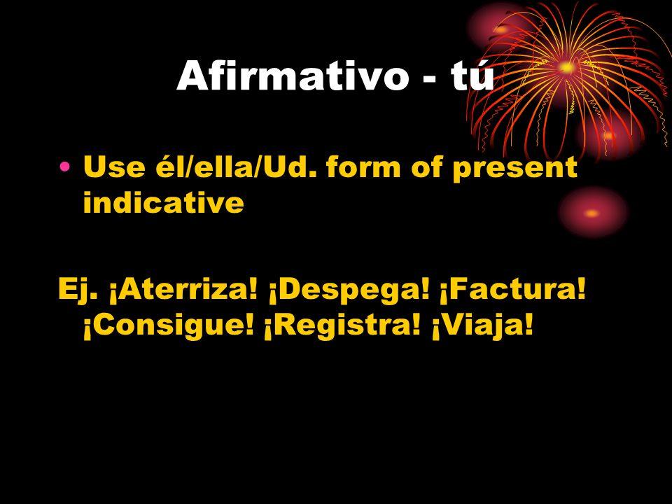 Negativo - tú Use the tú form of the present subjunctive Ej.