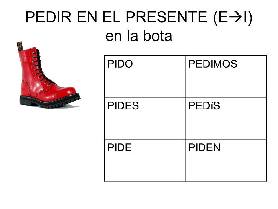 PEDIR EN EL PRESENTE (E I) en la bota PIDOPEDIMOS PIDESPEDíS PIDEPIDEN