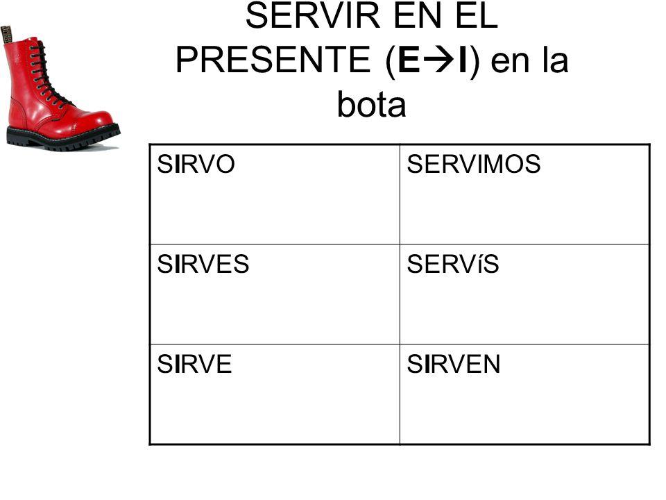 SERVIR EN EL PRESENTE (E I) en la bota SIRVOSERVIMOS SIRVESSERVíS SIRVESIRVEN