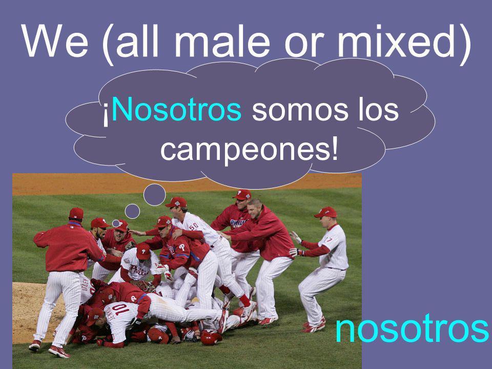 We (all male or mixed) nosotros ¡Nosotros somos los campeones!