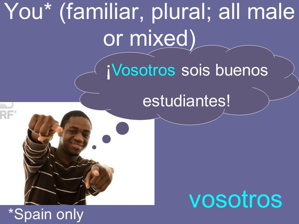 You* (familiar, plural; all female) vosotras *Spain only Vosotras no pueden cantar.