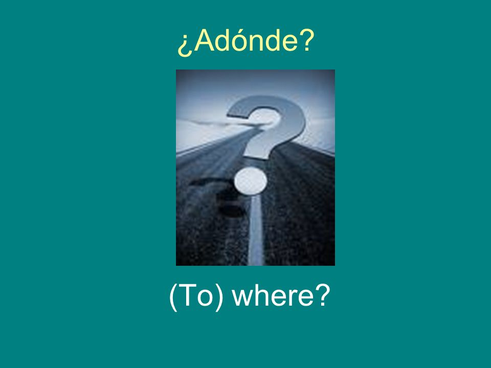 ¿Adónde? (To) where?