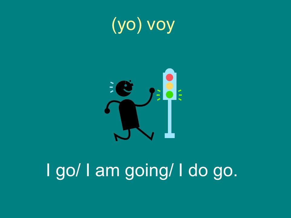 (yo) voy I go/ I am going/ I do go.