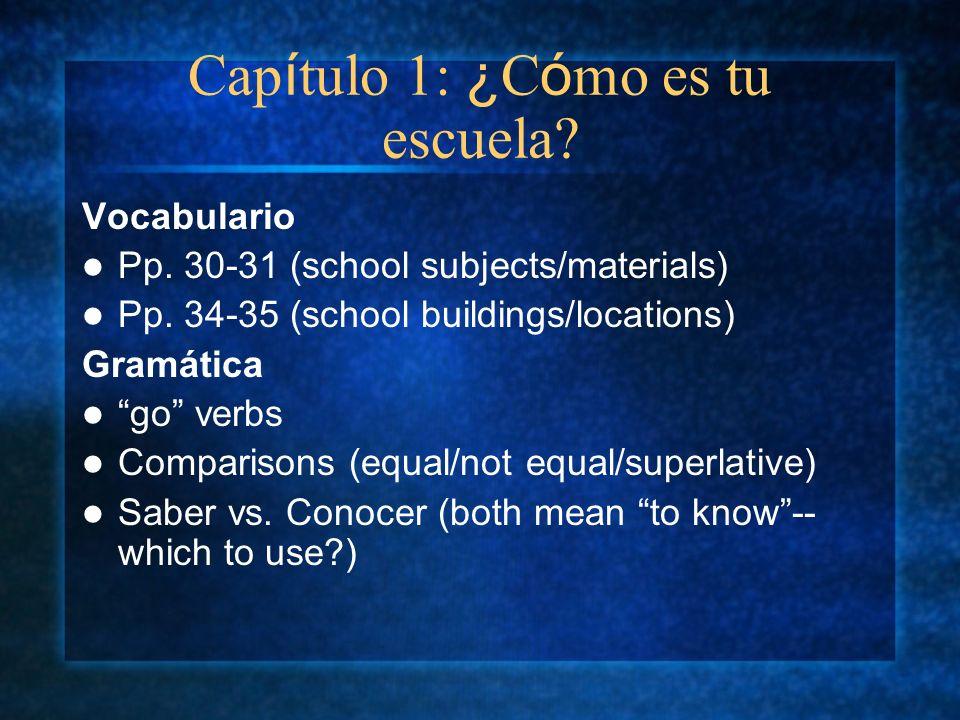Cap í tulo 1: ¿ C ó mo es tu escuela? Vocabulario Pp. 30-31 (school subjects/materials) Pp. 34-35 (school buildings/locations) Gramática go verbs Comp