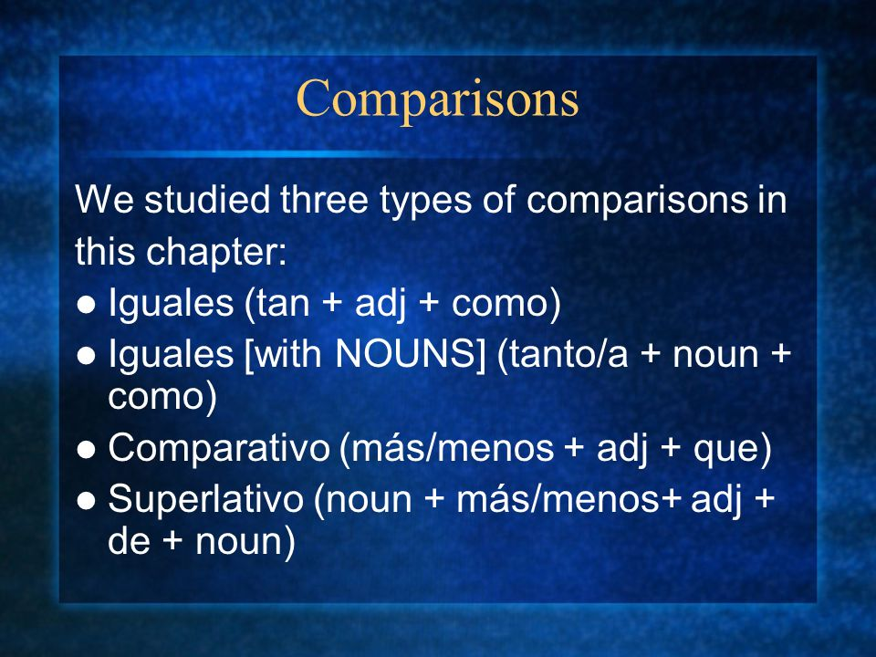 Comparisons We studied three types of comparisons in this chapter: Iguales (tan + adj + como) Iguales [with NOUNS] (tanto/a + noun + como) Comparativo