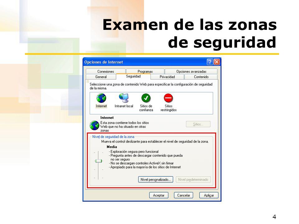 4 Examen de las zonas de seguridad