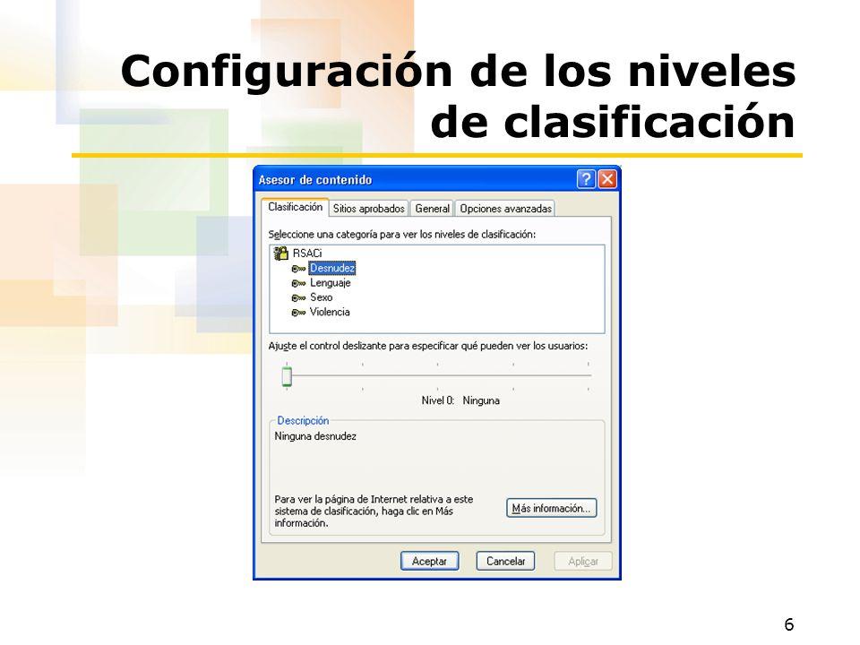 6 Configuración de los niveles de clasificación