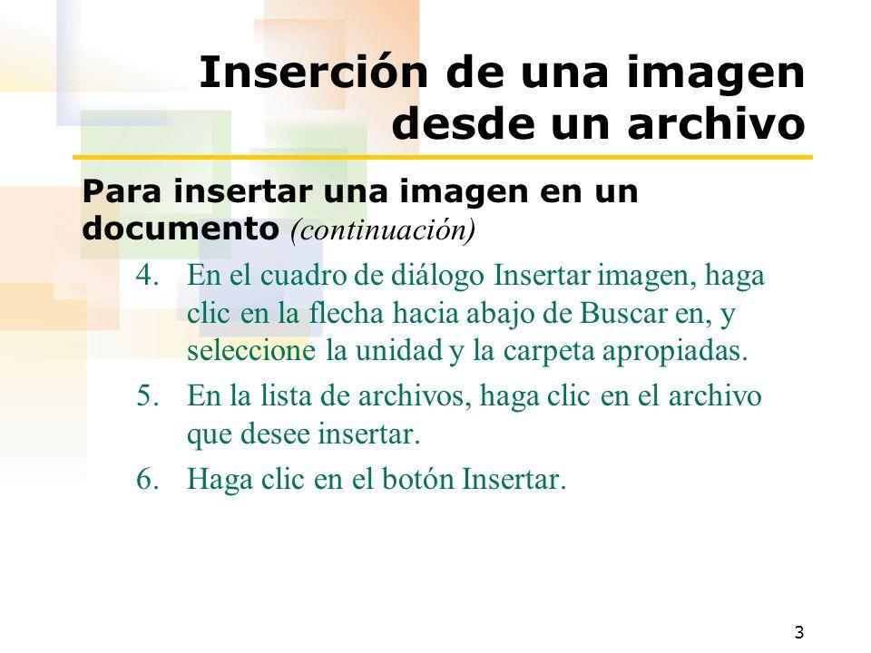 4 Inserción de una imagen desde la Galería de imágenes Para insertar una imagen prediseñada en un documento 1.Si es necesario, haga clic en el botón Vista Diseño de impresión de la barra de estado.