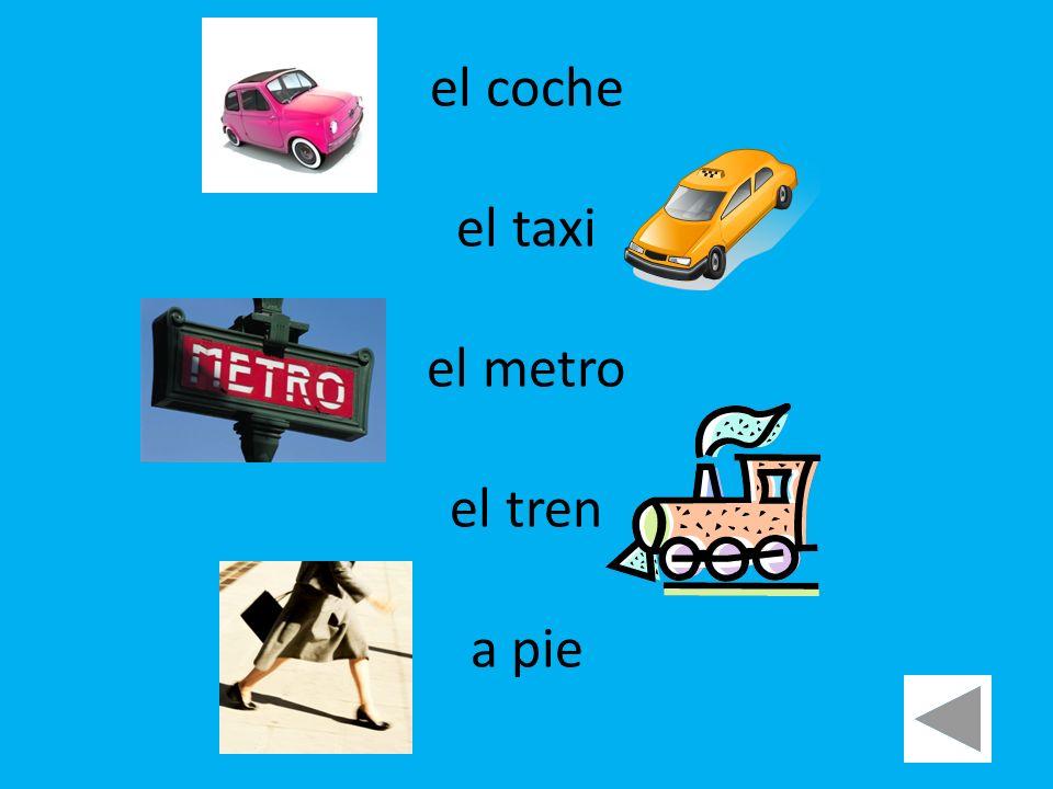 el coche el taxi el metro el tren a pie