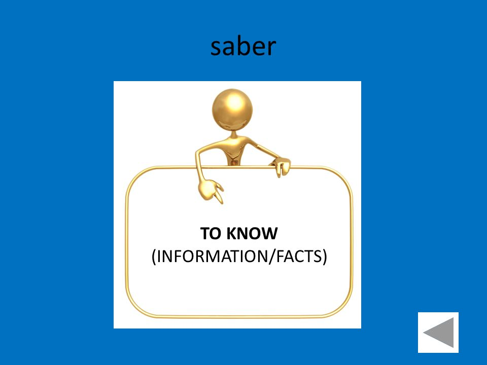 saber TO KNOW (INFORMATION/FACTS)