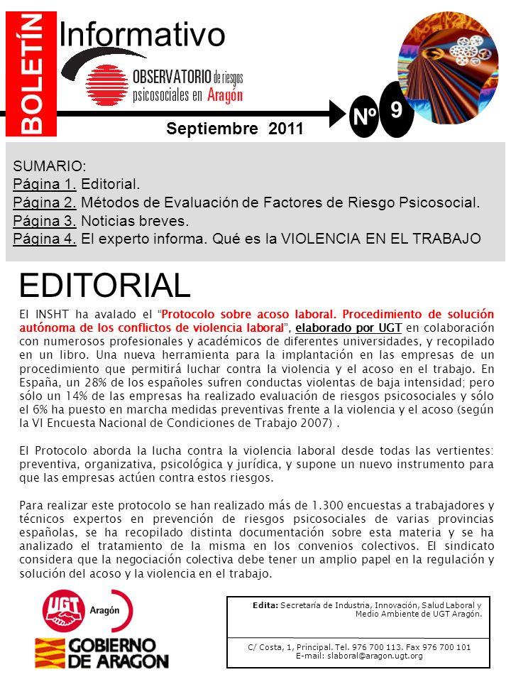 Nº 9 Informativo SUMARIO: Página 1.Editorial. Página 2.