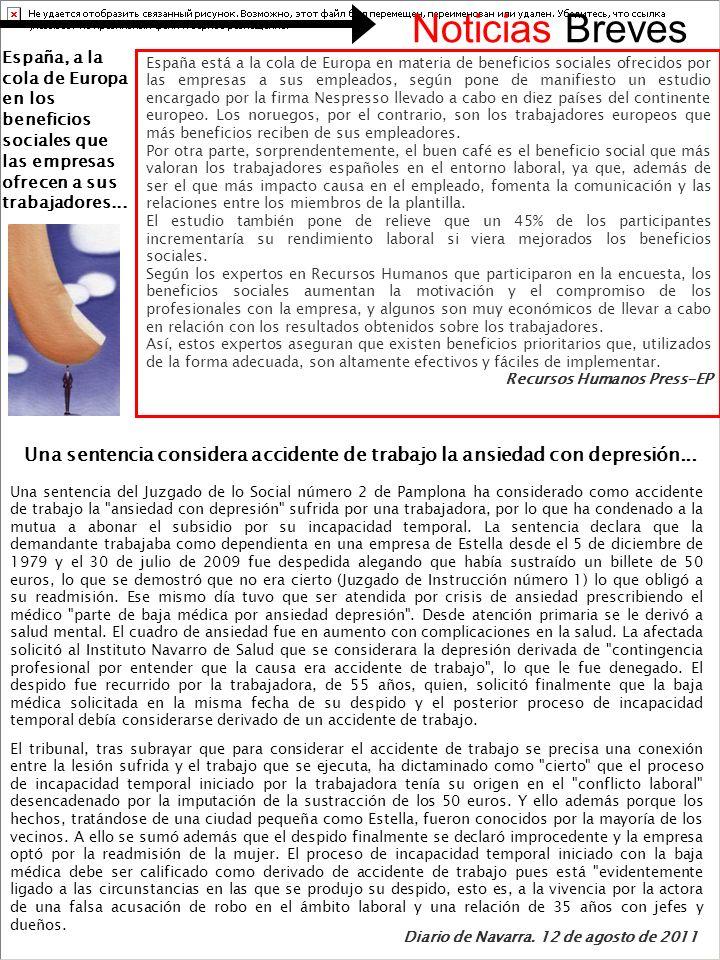 España está a la cola de Europa en materia de beneficios sociales ofrecidos por las empresas a sus empleados, según pone de manifiesto un estudio encargado por la firma Nespresso llevado a cabo en diez países del continente europeo.