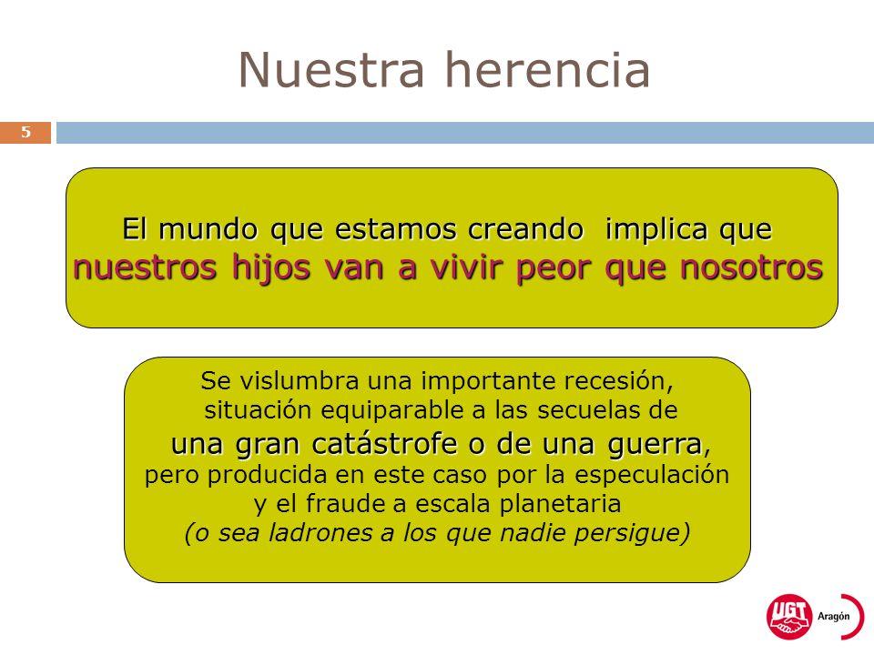 Nuestra herencia 5 Se vislumbra una importante recesión, situación equiparable a las secuelas de una gran catástrofe o de una guerra una gran catástro