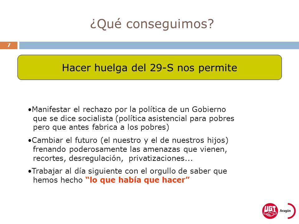 ¿Qué conseguimos? 7 Manifestar el rechazo por la política de un Gobierno que se dice socialista (política asistencial para pobres pero que antes fabri