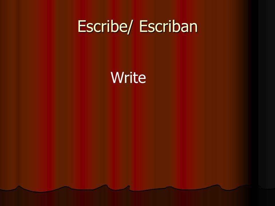 Escribe/ Escriban Write