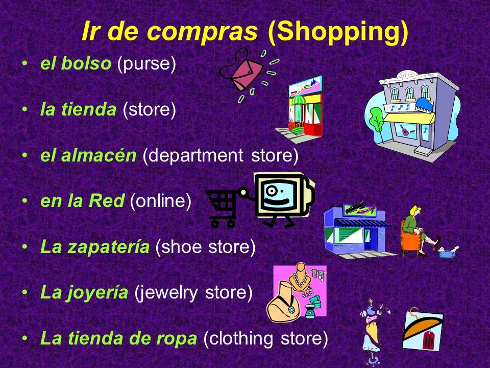 Ir de compras (Shopping) el bolso (purse) la tienda (store) el almacén (department store) en la Red (online) La zapatería (shoe store) La joyería (jew