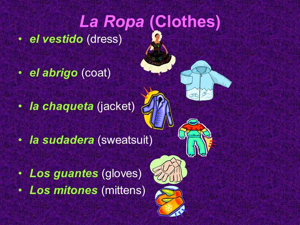 La Ropa (Clothes) la falda (skirt) el traje (suit) la corbata (tie) el traje de baño (swimsuit) la gorra (cap) el sombrero (hat)