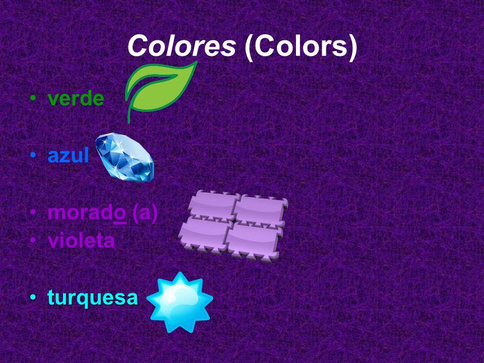Los Colores (Colors) café negro (a) blanco (a) plateado (a) (silver) gris (grey) dorado (a)